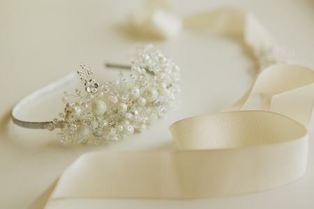 The composition of beautiful wedding accessories bride