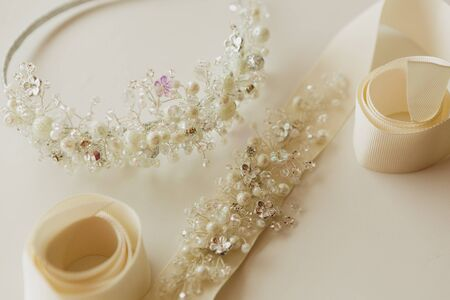 wedlock: The composition of beautiful wedding accessories bride