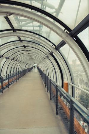 conduit: Glass conduit at Pompidou Centre in Paris France.