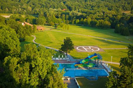 aqua park: Bright aqua park constructions in swimming pool