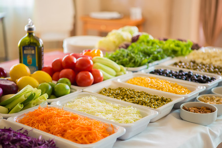 buffet: salad bar with vegetables in the restaurant, healthy food