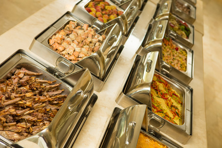 The food buffet in restaurant. Close up photo