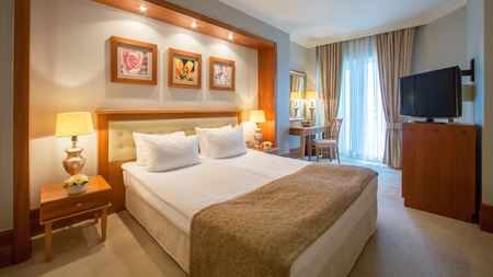The Interior design. The big modern Bedroom