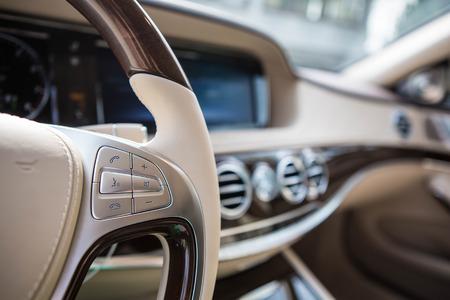 inside technology: Luxury car interior details. Shallow DOF - selective focus