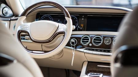 Luxury car interior details. Shallow DOF - selective focus