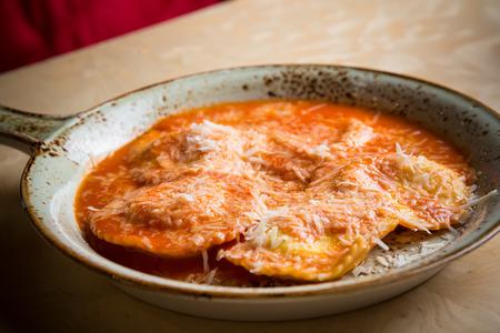 marinara sauce: Ravioli in sauce. Lunch. Ravioli Medallions with Marinara Sauce.