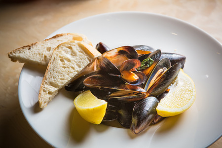 mussels whith sauce of fresh tomatoes in white plate