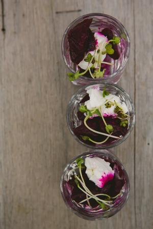 soy sprouts: Vegetarian aperitif with beet, goat cheese and soy sprouts