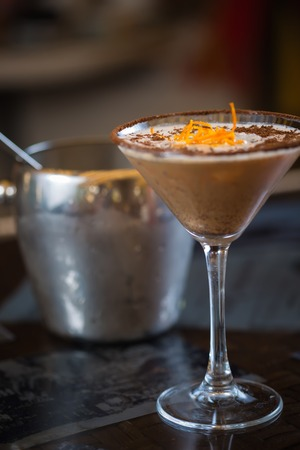 Cold fresh cocktail coffee with orange. Shallow dof Stockfoto
