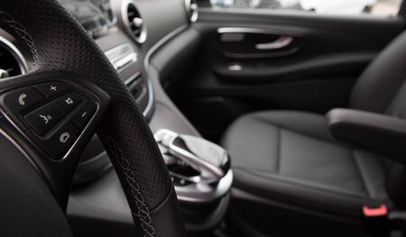 Closeup photo of car interiors. Shallow DOF Standard-Bild
