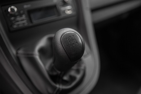 gearstick: view of the manual gearbox. Closeup photo Stock Photo