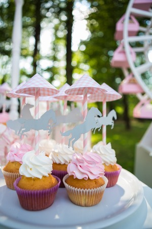 cakestand: Dessert table for a party. Cake, cupcakes, sweetness and flowers. Shallow dof Stock Photo