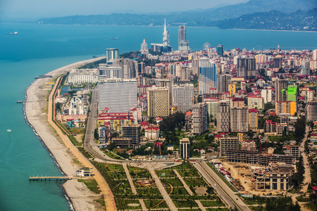 Aerial view of seaside city on Black Sea coast, Batumi, Georgia.