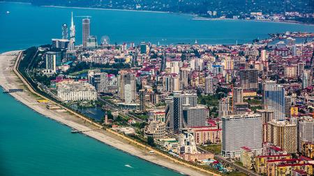 BATUMI, GEORGIA - JULY 20: Aerial view of seaside city on Black Sea coast, Batumi, Georgia.