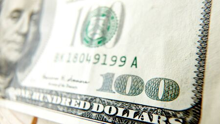 extreme macro: Macro close up of the US 100 dollar bill. Extreme macro. Shallow dof Stock Photo