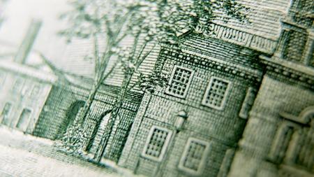 Macro close up of the US 100 dollar bill. Extreme macro. Shallow dof Imagens