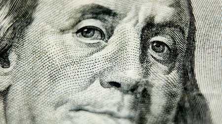 Macro close up of the US 100 dollar bill. Extreme macro. Shallow dof Stock Photo