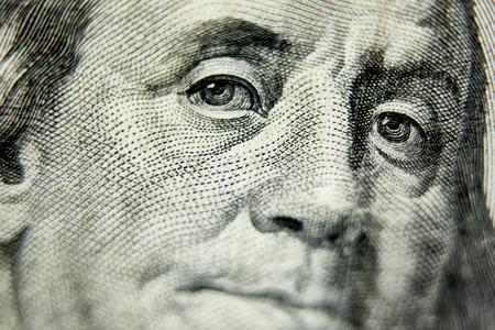 Macro close up of the US 100 dollar bill. Extreme macro. Shallow dof Archivio Fotografico