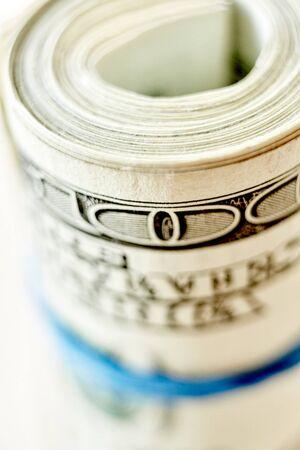 money roll: Money roll, roll of bills, roll of dollar bills. Shallow dof Stock Photo