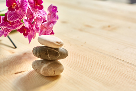 shinning leaves: Zen pebbles balance. Spa and healthcare concept