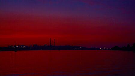 dnepr: Sunrise over the river. Dnepr river. Kiev Stock Photo