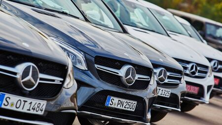 benz: Kiev, Ukraine - OCTOBER 10, 2015: Mercedes Benz star experience. The interesting series of test drives Editorial