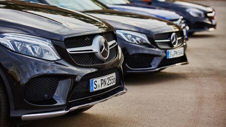 benz: Kiev, Ukraine - OCTOBER 10, 2015: Mercedes Benz star experience. The series of test drives. Mercedes Benz Sign Close Up.