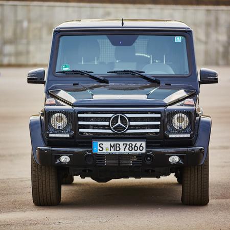 jeep: Kiev, Ukraine - OCTOBER 10, 2015: Mercedes Benz star experience. The interesting series of test drives. Mercedes-Benz G-Class. Gelandewagen.
