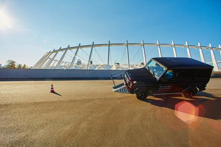 benz: Kiev, Ukraine - OCTOBER 10, 2015: Mercedes Benz star experience. The interesting series of test drives. Mercedes-Benz G-Class. Gelandewagen.