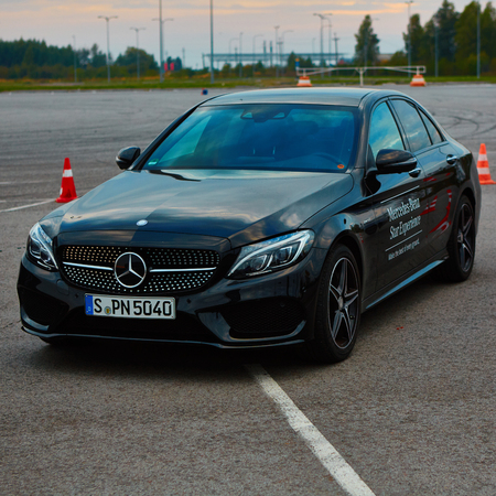 benz: Lviv, Ukraine - OCTOBER 15, 2015: Mercedes Benz star experience. The interesting series of test drives Mercedes Benz C 450 amg 4matic Editorial