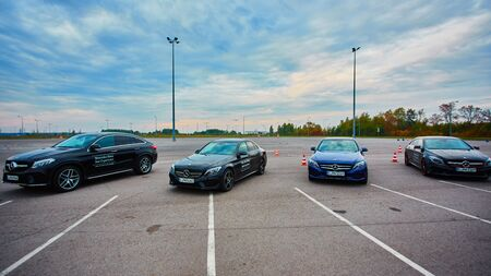mercedes: Lviv, Ukraine - OCTOBER 15, 2015: Mercedes Benz star experience. The interesting series of test drives new cars
