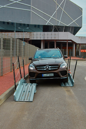 mercedes: Lviv, Ukraine - OCTOBER 15, 2015: Mercedes Benz star experience. The interesting series of test drives Mercedes-Benz GLE 63 AMG 4matic