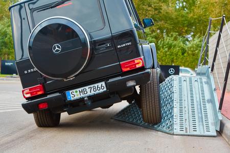 benz: Lviv, Ukraine - OCTOBER 15, 2015: Mercedes Benz star experience. The interesting series of test drives Mercedes-Benz G 55 AMG Editorial