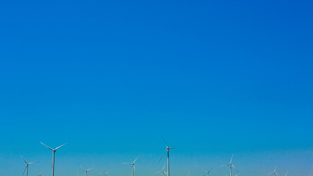 power production: The windmills for electric power production. Eco power Stock Photo
