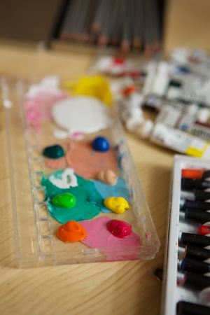 paint box: Closeup of messy, used water-color paint box. background Stock Photo