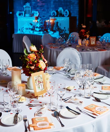 catered: Table set for wedding or another catered event dinner.