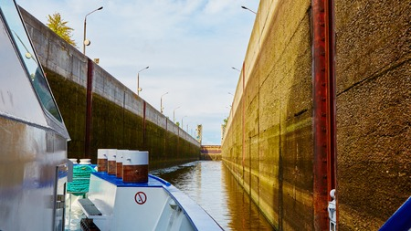 dnepr: One of the locks on the navigable river Dnepr in Ukraine