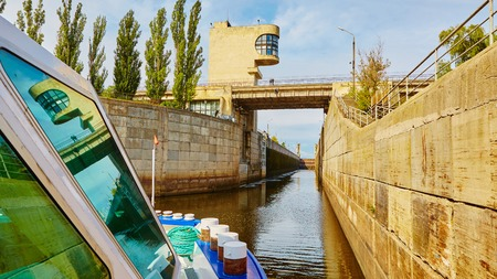 dnepr: One of the locks on the navigable river Dnepr in Ukraine