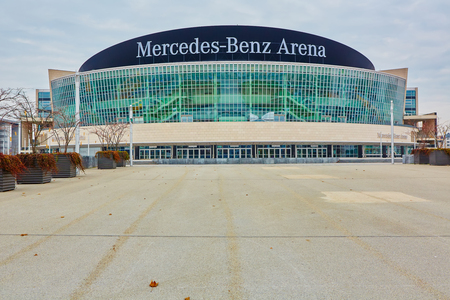 benz: Berlin, Germany - November 13, 2015: The Mercedes Benz Arena in Berlin is a multipurpose arena, opened in 2008. It holds important sport and entertainment events