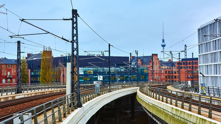 railway points: Shoot of the Railway in Berlin, Germany Editorial
