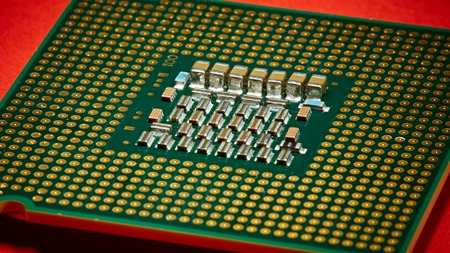 processors: The computer processors CPU on red background.