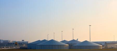 fuel storage: Amsterdam, Netherlands - March 11, 2016: Amsterdam Airport Schiphol in Netherlands. Fuel Storage Tank