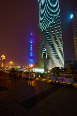 oriental pearl tower: Shanghai, China - March 12, 2016: Oriental Pearl Tower at night