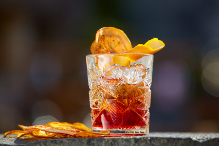 The Negroni. Old fashioned cocktail. Shallow dof Foto de archivo