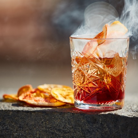 The Negroni. Old fashioned cocktail. Shallow dof Stock Photo