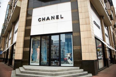 luxury goods: Kiev, Ukraine - April 12, 2016: Chanel retail store exterior. Chanel is a French high fashion house that specializes in ready-to-wear clothes, luxury goods and fashion accessories.