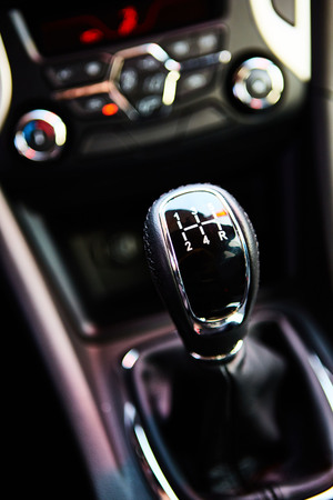 gearstick: 6 speed gear stick closeup. Manual gearbox in the car