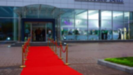 red carpet background: The red carpet with the sides, blurred background Stock Photo
