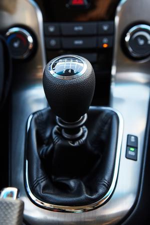 car transmission: Six Speed Stick Shift Car Transmission. Stick Shift Driving. Modern Car Interior.