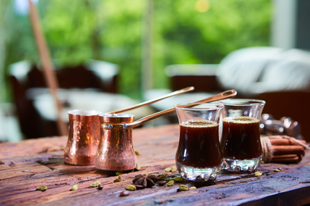 arabic coffee: Traditional Arabic coffee. Traditional Arabic coffee. Two copper pots and two glass cups